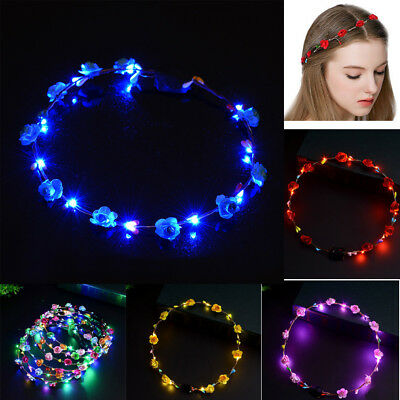 LED Colorful Flower Floral Hairband Garland Crown Glowing Wreath Vines Headband