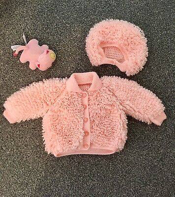Peach Baby Girl Loopy Cardigan And Hat 3-6 Months Hand Knitted Brand new