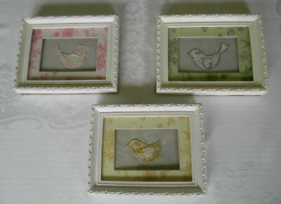 Framed Fabric Wall Art, Embroidered Birds Vintage Quilt Pieces Green Pink Yellow