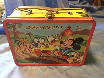 Scarce Vintage 1954 Mickey Mouse Disney ADCO Metal Lunchbox