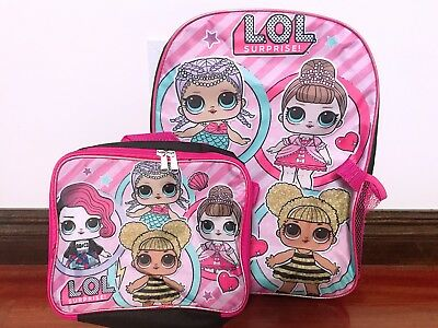 """16"""" LOL Surprise Doll Back to School Book Bag Backpack Detachable Lunch Box Set"""