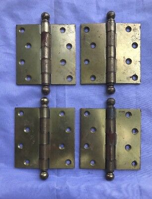 """Set Of 4 Large Solid Brass Plated Steel Hinges Antique Hardware 4"""" X 4"""""""
