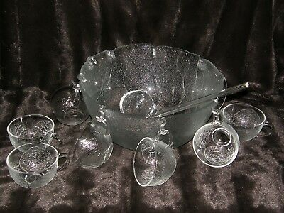 VIntage Arcoroc Aspen Glass Punch Bowl Set, 18 piece set