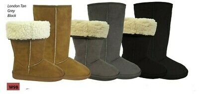 Womens Ladies Boot Slippers Coolers Microsuede Turn Down  Sizes UK 3 - 8