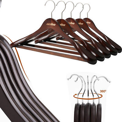 Solid Wood Suit Hangers 20 Pack w/ Non Slip Bar Super Sturdy and Durable Wooden