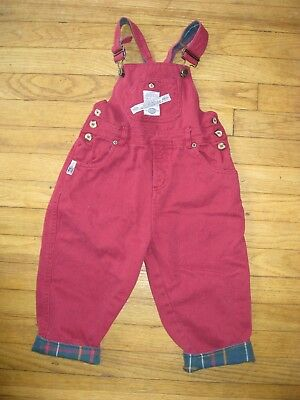 Vintage Boys Size 3/4T Bugle Boy 1980's 90's Red Denim Overalls Flannel Lined
