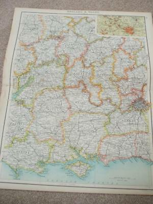 MAP c1900 LEICESTER to ISLE OF WIGHT BARTHOLOMEW XXth CENTURY ATLAS
