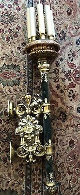 """PAIR Massive Vintage Baroque Style Wall Sconces Gothic Faces 47"""" Theatrical"""