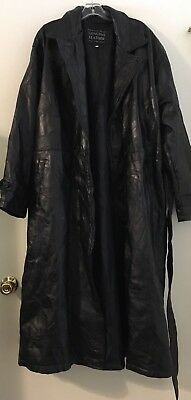 Italian Stone Design Leather Jacket Long Navarre Company Black Size XL Coat