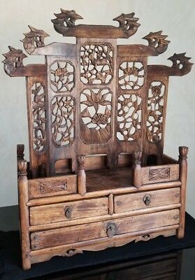 Estate Antique Chinese Carved Wood Display Two Piece Shelf And Drawers