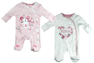 Girls Baby PACK OF 2 Mummy Loves Me Sleepsuits Tiny Prem Baby to 3 Months
