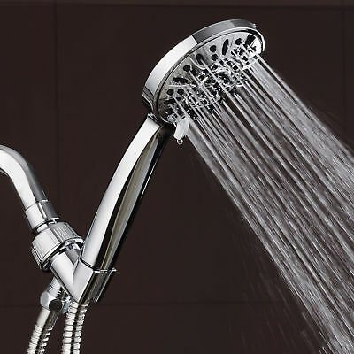 """AquaDance High Pressure 6-Setting 4"""" Chrome Face Hand Held Shower Head with Hose"""