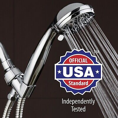 """AquaDance High Pressure 6-Setting 3.5"""" Chrome Face Handheld Shower with Hose"""