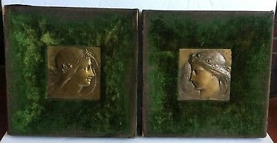 Pair of Bronze Relief Plaques of Flower Maidens Old Aesthetic Movement Framed