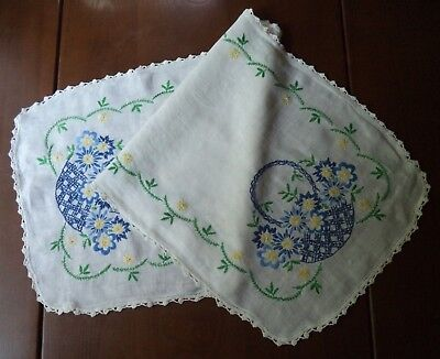 Pretty Vintage Hand Embroidered Linen Table Runner Blue & Yellow Flowers Baskets