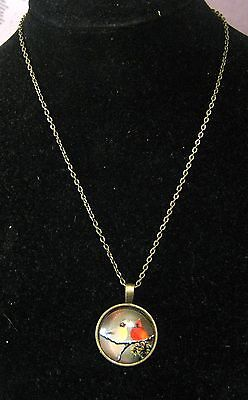 Fantastic Bronze tone metal chain necklace with circular pendant with Birds