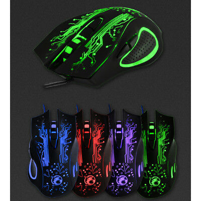 Gaming Maus Mouse 5000dpi Optisch Kabel LED USB 6 Taste Gamer Mäuse f. PC Laptop