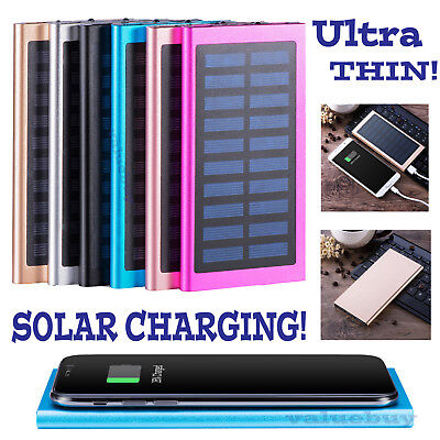 500000mAh Slim 2 USB Portable Battery Charger Solar Power Bank For Phone