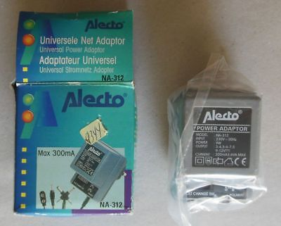 Alecto NA-312 Adapter, In 230 V / 50 Hz, Out 3 - 4,5 - 6 - 7,5 - 9 - 12 V, 300mA
