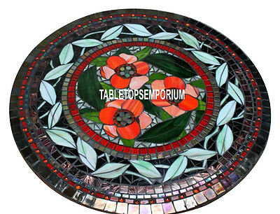 """30"""" Black Marble Top Beautiful Coffee Table Mosaic Stone Floral Work Inlay Decor"""