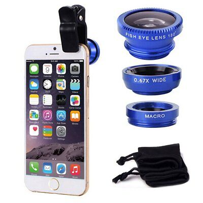 3 in 1 Clip-on Fish Eye Wide Angle Macro Lens Camera Lens Kit For iPhone 5 6 7 8