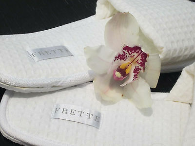 4 Frette White Open-Toe Waffle Slippers, Size 10-12, Summer Special!