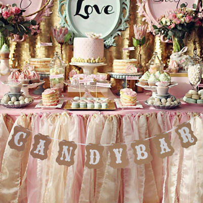 """""""CANDY BAR"""" Letters Hanging Flag Wedding Party Bunting Banner Party Pull Flowers"""