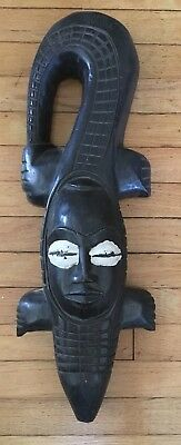"Guro? Carved Tribal Mask, African Art Crocodile/Alligator Mask 24 1/2"" tall"