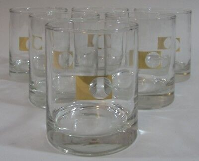 Vtg Chubb Insurance Cocktail Glasses Mid Century Retro Gold Logo Barware Set 6