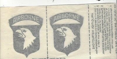 VN War original 101st Airborne Div Iron patch transfers for jungle jackets, RARE