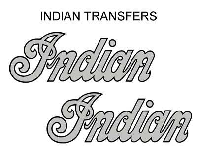 Indian Tank Transfer Decal American Motorcycle Pair D509126 Black Silver