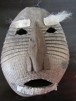 Authentic- Old Mexican Oaxaca Mask Armadillo Shell, Hair, Wood-