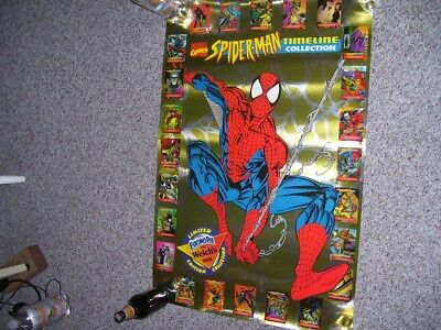 1995 Spider-Man Welch's Promotional Timeline Poster & Sealed 24 Set Of Cards