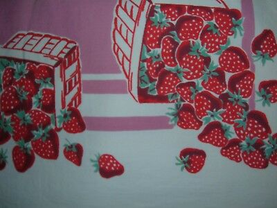 Vintage Tablecloth Red Strawberries Vibrant Hugh