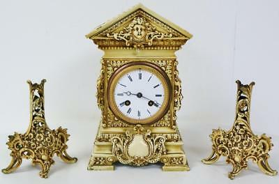 Rare Antique French 8 Day Bone Style Finish Pierced Bronze Cube Mantel Clock Set