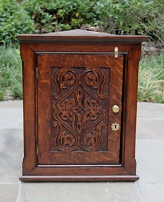 Antique English Carved Oak Hanging CORNER CABINET Arts & Crafts Era PETITE