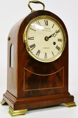 Vintage Charles Frodsham Mahogany English Fusee 8 Day Arched Top Bracket Clock