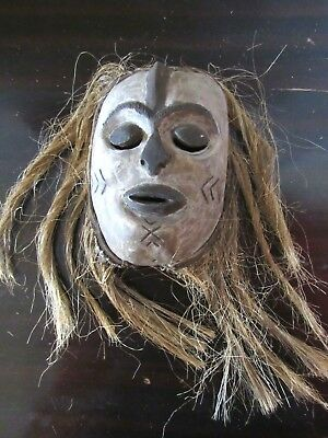 Authentic- Old IGBO Maiden White Mask - Raffia Hair -Nigeria Africa- RARE!