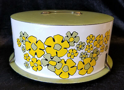Cake Carrier Decoware Covered Tin Mod Floral Yellow Green Daisies MCM Vtg
