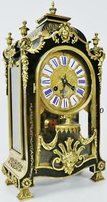 Spectacular Antique Shell & Ormolu Boulle Brass Inlaid Mantle Bracket Clock WOW!