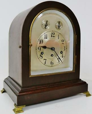 Jungans Antique Westminster Chime Musical Silver Dial 8 Day Bracket Mantle Clock