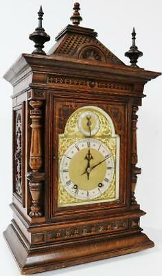Amazing Antique W&H Architectural Carved Mahogany Striking Mantel Bracket Clock