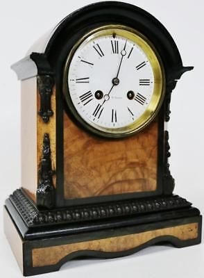 Stunning J.W Benson French Antique Ebonised & Walnut Striking Mantel Clock C1880