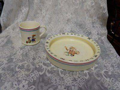 Vintage Ceramic Child's/baby Dish Set~Abc's~Crown Pottery~Usa~Cup/bowl