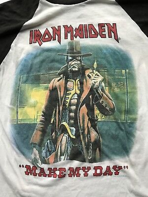 9e134ed39223d iron maiden t-shirt jersey L - 1987 - original vintage somewhere in time  tour