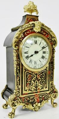Antique French Red Shell Ormolu Inlaid Brass Ebonised Boulle Mantel Clock C1870