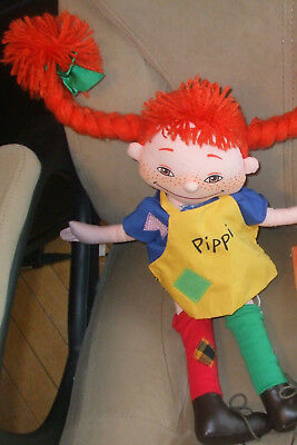Vintage Pippi Longstocking Astrid Linren CLOTH RAG DOLL, yarn braids, nice