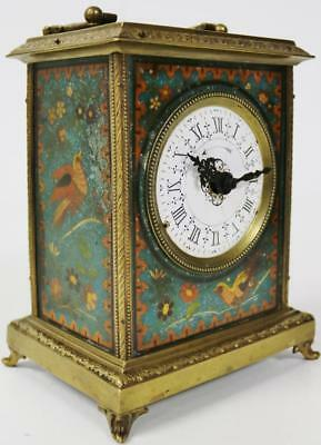 Antique French 8 Day Bronze & Painted Wood Mantel Desk Clock Spairs Or Repair