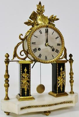 Quality Empire French Antique Marble & Bronze 8 Day Bell Striking Mantle Clock