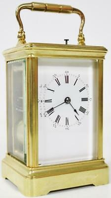 Quality Antique French Bronze Carriage Clock Gong Striking Repeat Mantel Clock